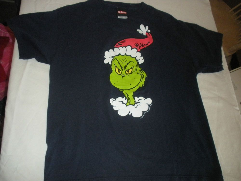 Delta Dr Seuss Grinch T-Shirt Top Christmas Santa Hat Adult Navy Blue Sz M  #DeltaProWeight #Tshirt