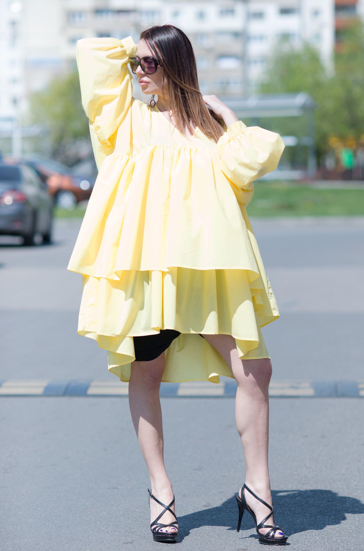 Cotton Yellow Tunic Top for Womens, Asymmetric Flounces Top ...