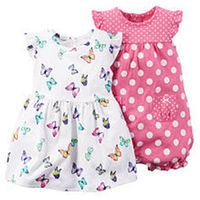 Carter's Girls 2 Pack White Allover Butterfly Print Flutter Sleeve Dress and Pink Polka Dot Flutter Sleeve Romper
