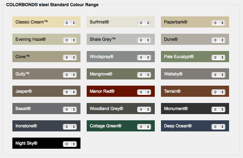 Colorbond standard colours | ROOF trend on top | Pinterest