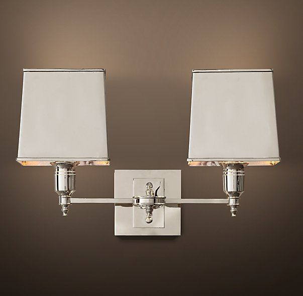 Claridge double sconce with metal shade redondo view home rhs claridge double sconce with metal shadeelegant hotels and other well dressed venues illuminate their spaces with lighting based on traditional lamps aloadofball Images