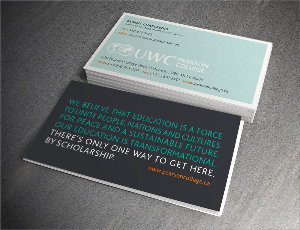 Business card design, featuring the college\'s positioning statement ...