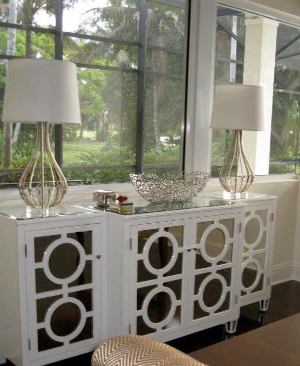 Circles White Mirrored Buffet Console | Home Design | Pinterest ...