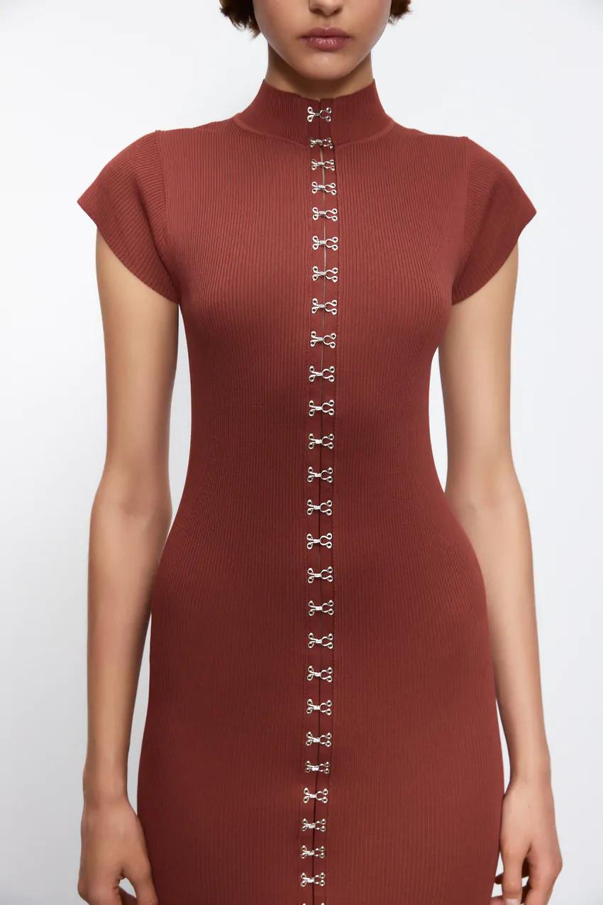Vestido Malha Colchetes Zara Portugal Knit Dress Dresses Front Zipper Dress [ 1275 x 850 Pixel ]