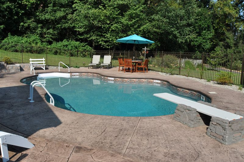 Pin by yorktown pools on swimming pools pinterest backyard in ground pools and swimming pools for Swimming pool diving board paint kit