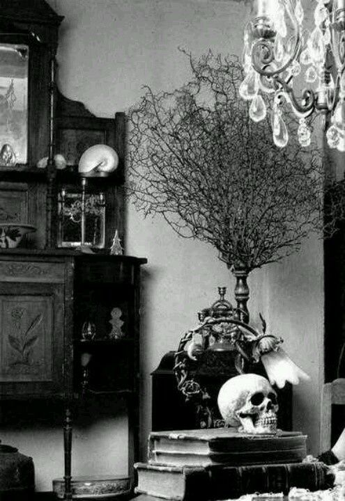 Black and white macabre interior