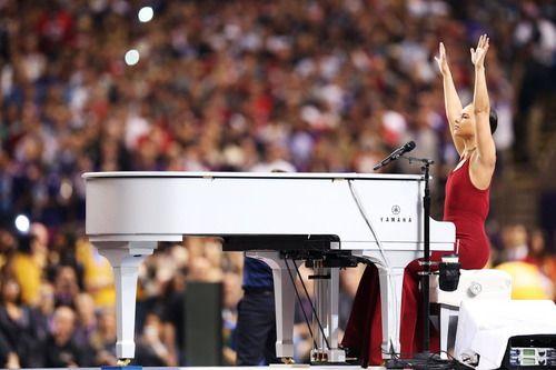 Singer Alicia Keys Performs The National Anthem During Super National Anthem Video Beyonce Halftime Show Super Bowl
