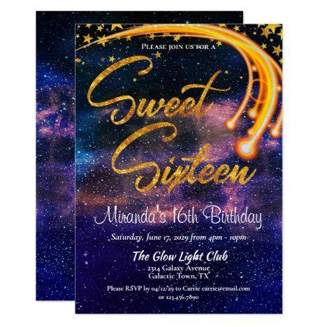 Galactic Glow Light Sweet Sixteen Birthday Party Invitation   Zazzle.com