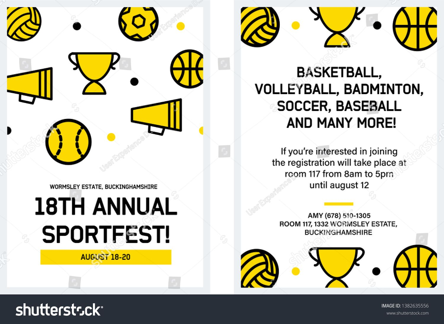 Sports Day Poster Flyer Card Invitation Vector Illustration
