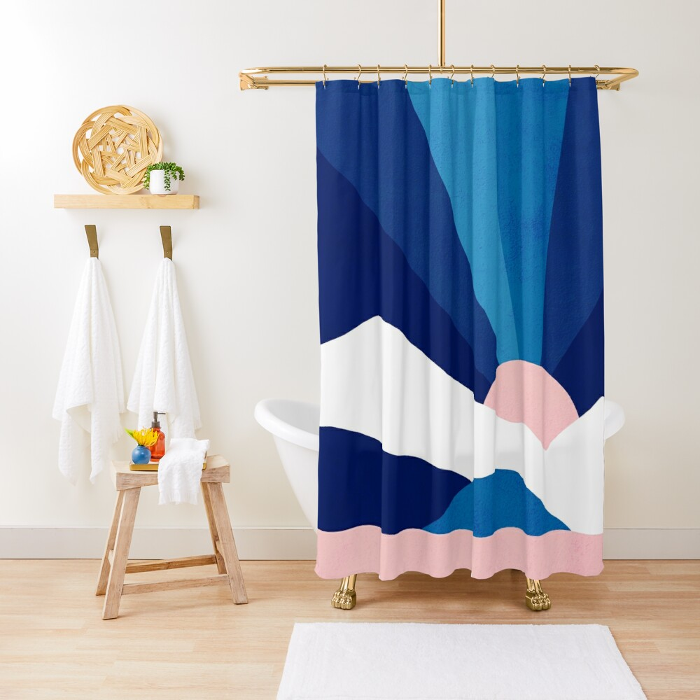 Classic Blue Rainbow Landscape Shower Curtain By Dominiquevari