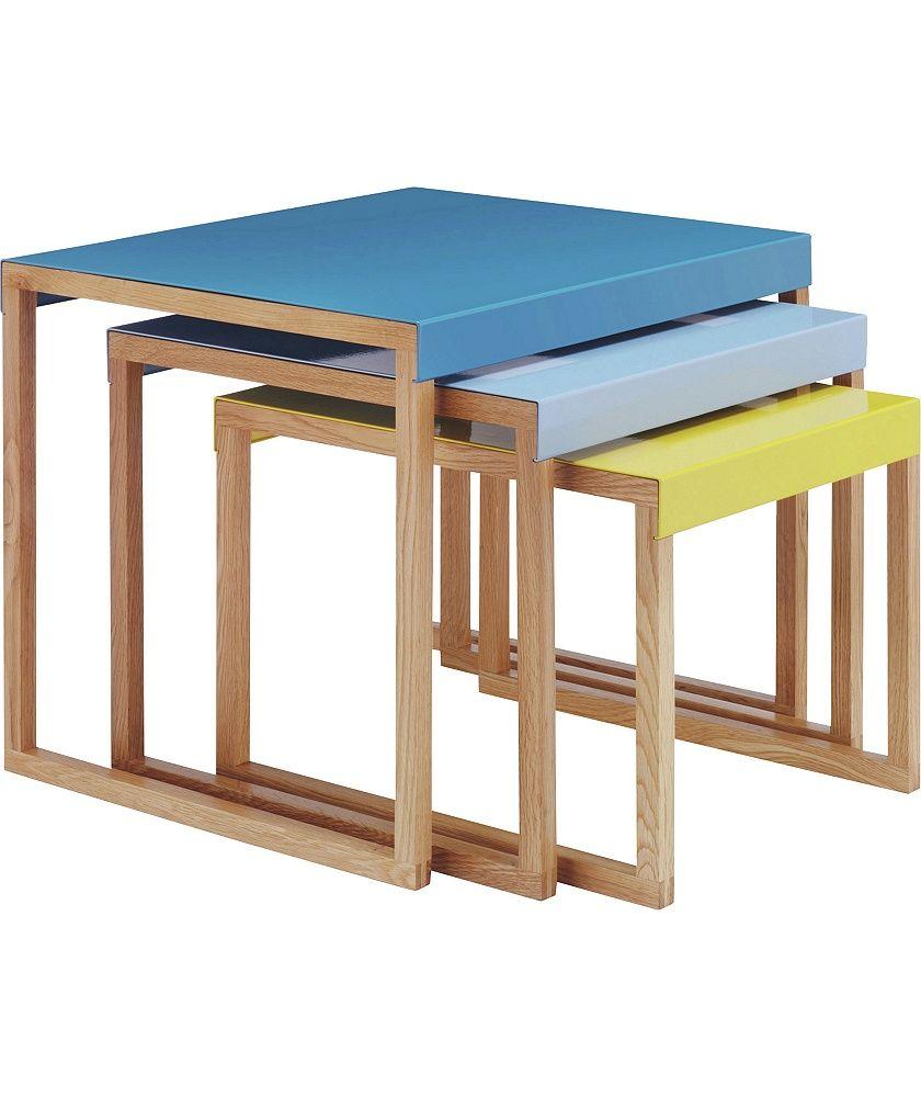 Habitat Kilo Blue And Yellow Nest Of 3 Tables At Argos
