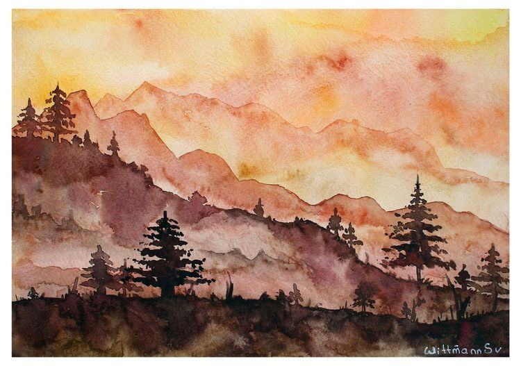 Original 21x30 Cm Landscape Mountains And Trees Nature View Warm Colours Watercolor Painting On Paper 11 8 X8 3 2018 Watercolour By Svetlana Wittmann In 2020 Original Watercolor Art Art Painting Watercolor Paintings