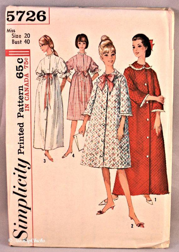 1964 Simplicity Printed Pattern 5726 Miss Size 20 Vintage Plus Size