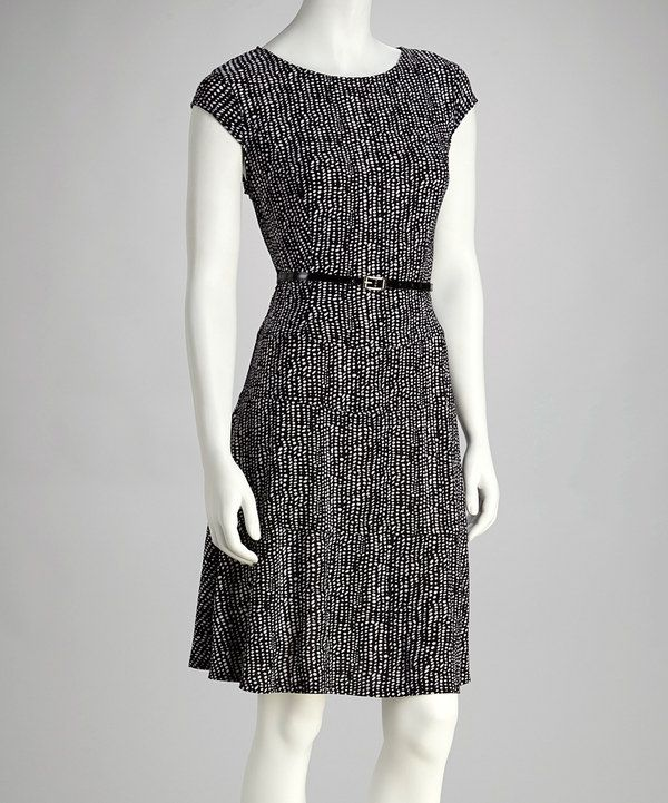 Take a look at this AA Studio Black Skater Belted Dress on zulily today!
