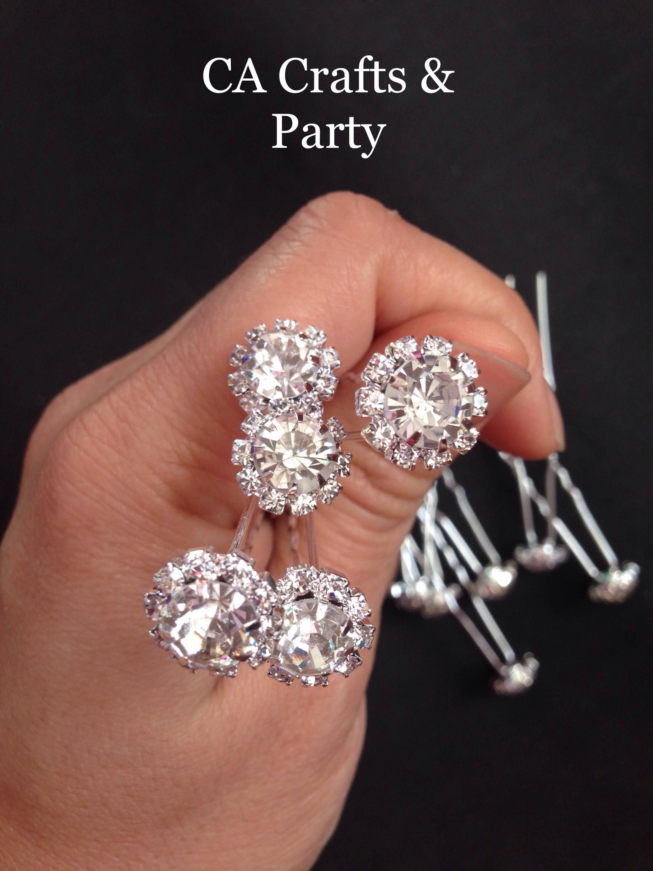 Set Of 12 Crystal Hair Bobby Pins Diamond Pin Wedding