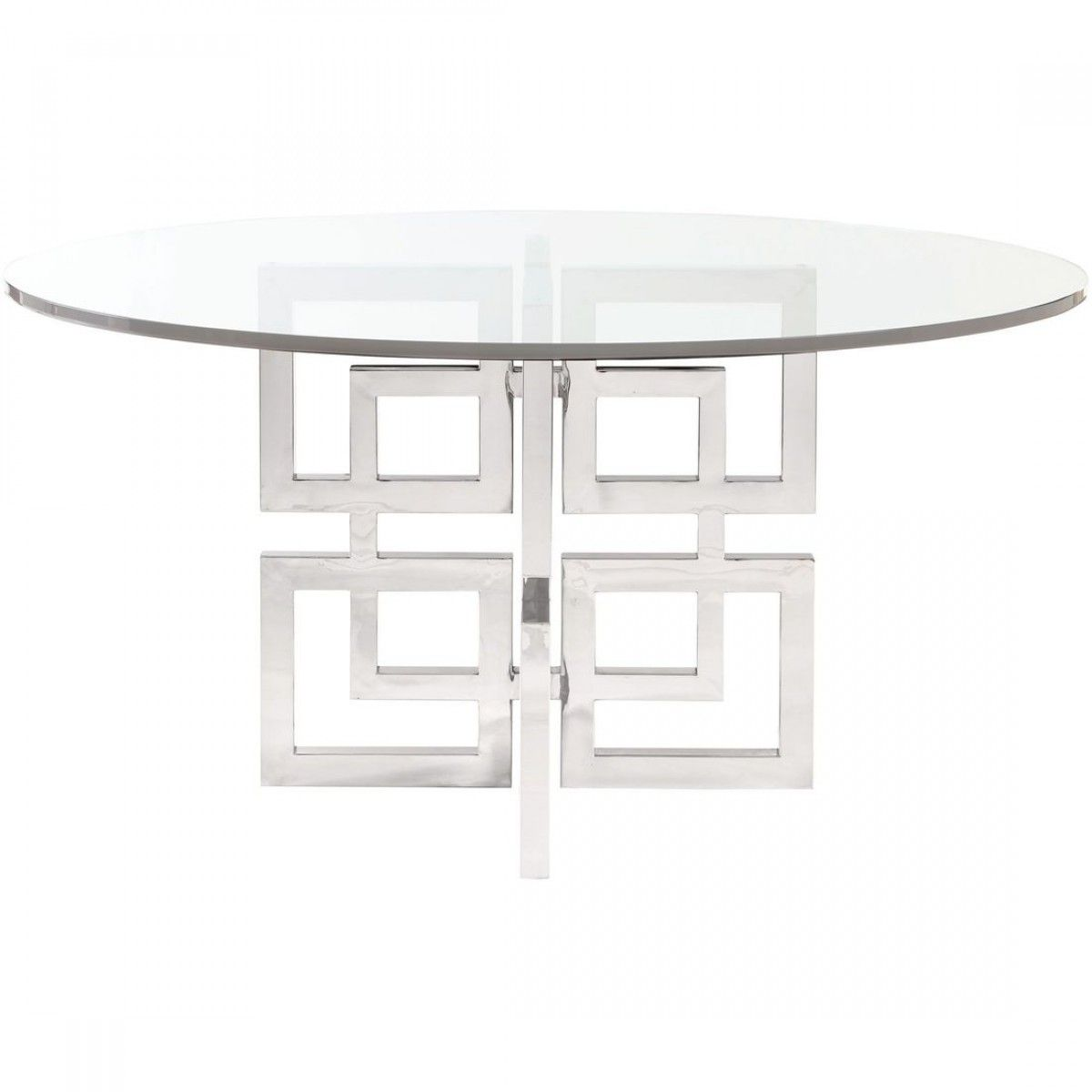 Bernhardt Soho Luxe Round Glass Top Dining Table Stainless Steel Dining Table Glass Round Dining Table Steel Dining Table
