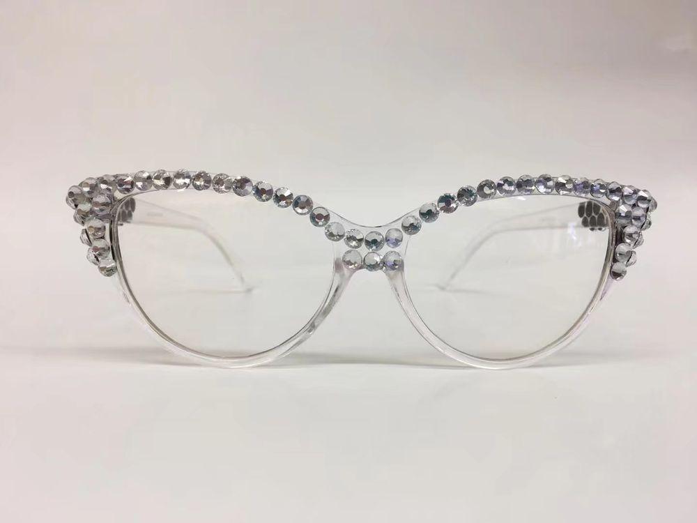 Womens VINTAGE 60/'s RETRO CAT EYE Style Clear Lens EYE GLASSES Transparent Frame