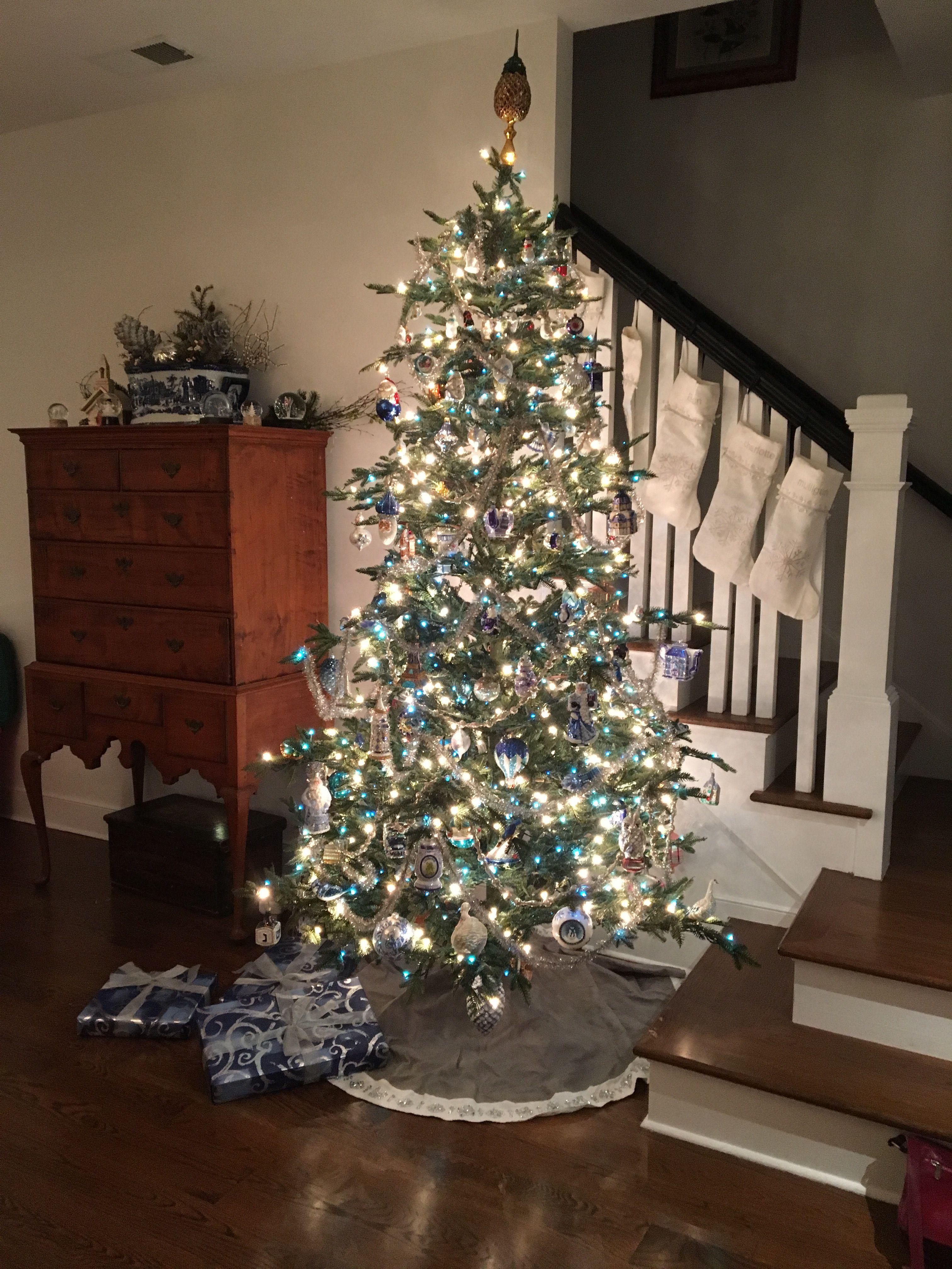 2019 Christmas Tree Blue And White Lights Silver Christmas