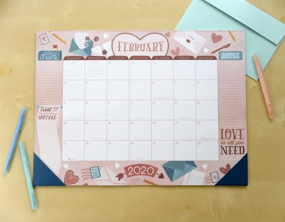 Monthly Deskpad Calendar Weekly Desktop Planner Illustrated Large Format 2020 Calendar Seasonal Gifts For Coworkers Back To School Organization Jingle All The Way