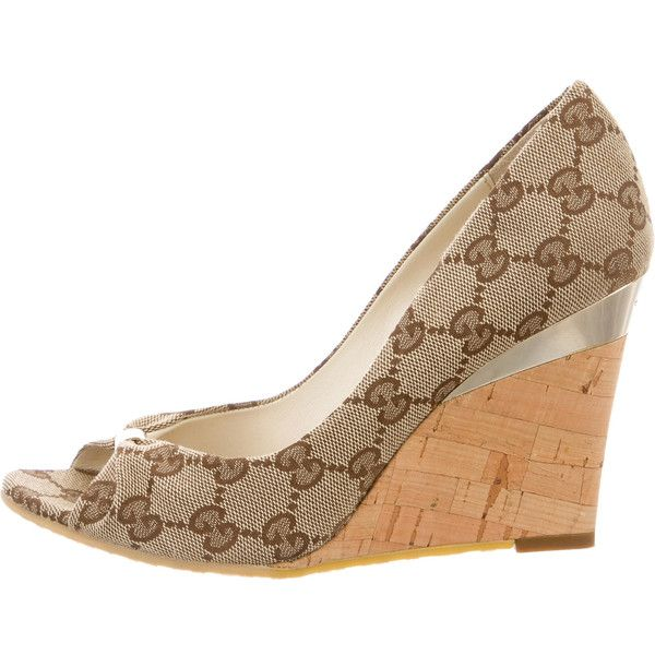 c341da45f4f Pre-owned Gucci GG Canvas Peep-Toe Wedges ( 175) ❤ liked on Polyvore  featuring shoes