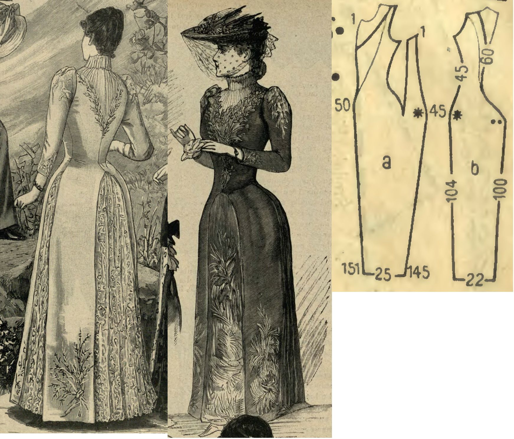 Tygodnik Mód 1889.: Summer dress from greyish-blue cotton fabric with embroidery and lace adornments, with silk lining.