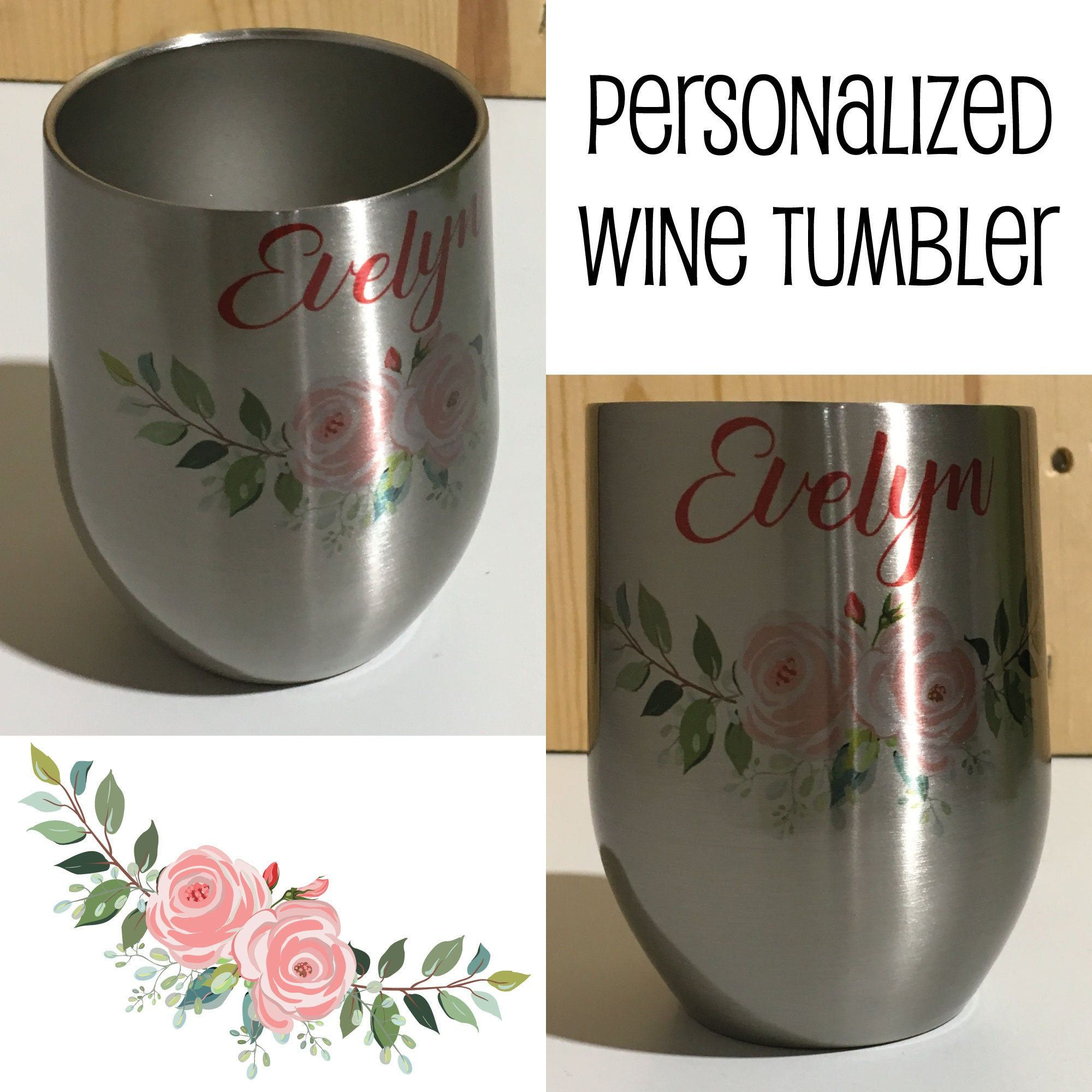 Personalized Sublimation Stainless Steel 12oz Wine Tumbler