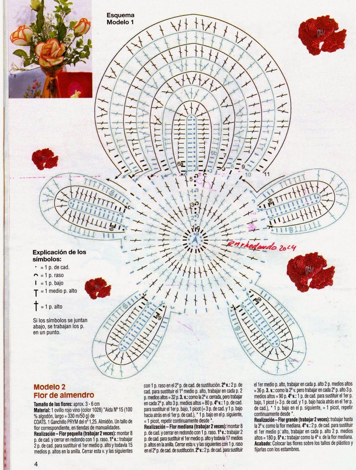 Flor de Almendro en Crochet Instrucciones - Patrones Crochet | DIY ...