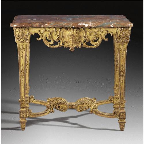 Table de milieu en bois doré de style Régence fin du XIXe siècle ...