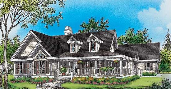 Cape Cod Cottage With Porches And A Breezeway To Detached Garage Country House Plans Wrap Ar Country Style House Plans Garage House Plans New House Plans