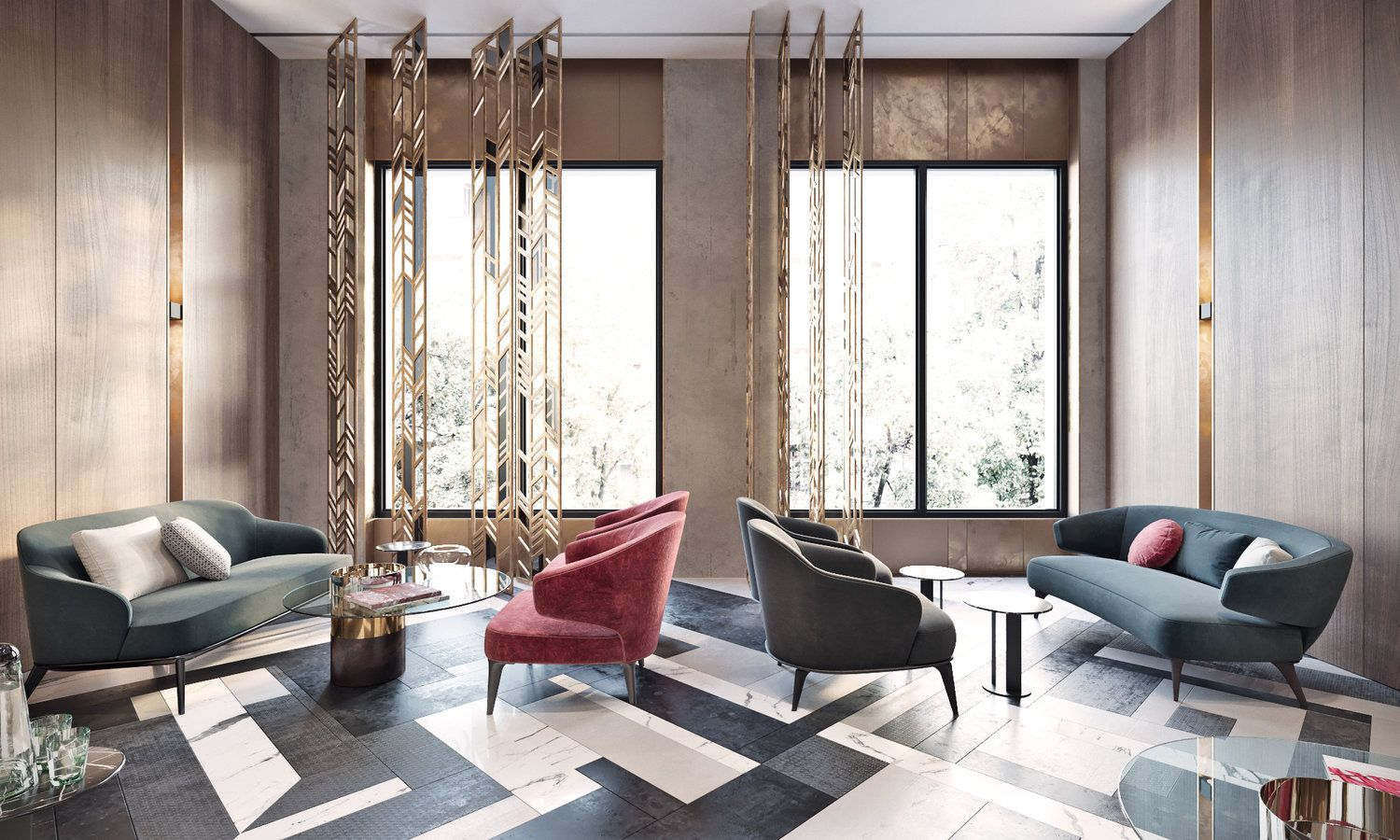 Superior Bright Modern Lobby In Moscow With Brass And Special Lamps/ SEE MORE AT:  Http