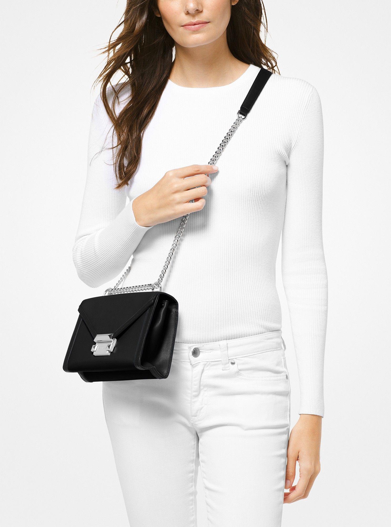 c0eaa2e2aac1 Michael Kors Whitney Small Leather Convertible Shoulder Bag - Black ...