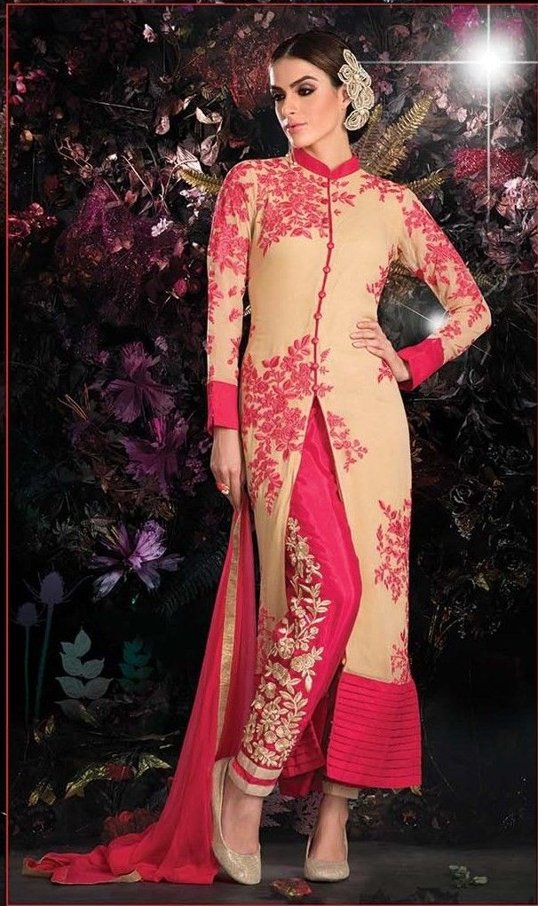 Exquisite Red Net Aarvi Cut Embroidery Pant Salwar Suit Buy Apparel