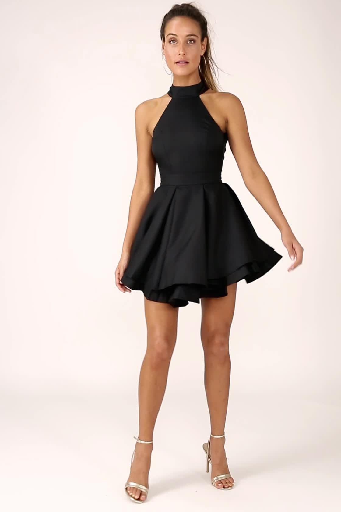691850c744 Cute Black Skater Dress - LBD - Homecoming Dress