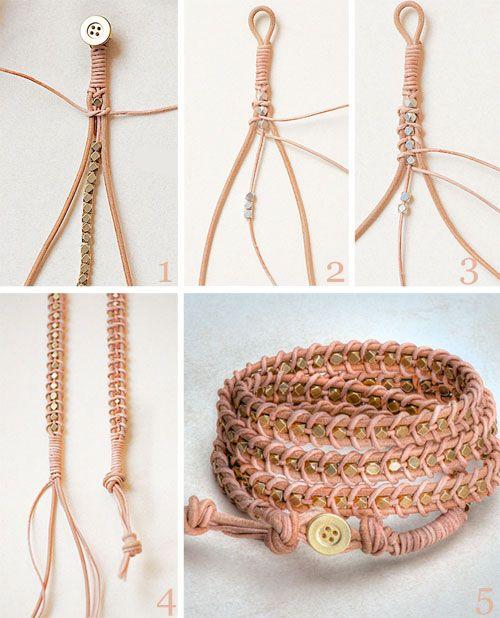 ca0a081d2fc Vind je leren armbandjes erg mooi? Die kun je eenvoudig zelf maken.  Vriendin laat zien hoe!