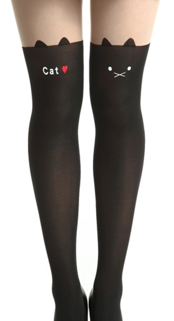 2efffbf8c0acb Cat tights | Underneath It All | Patterned tights, Black tights, Cat ...