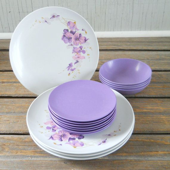 Vintage Texas Ware Melmac Dinnerware Set Plates Bowls Purple Pansies on Etsy $18.00 & Vintage Texas Ware Melmac Dinnerware Set Plates Bowls Purple Pansies ...
