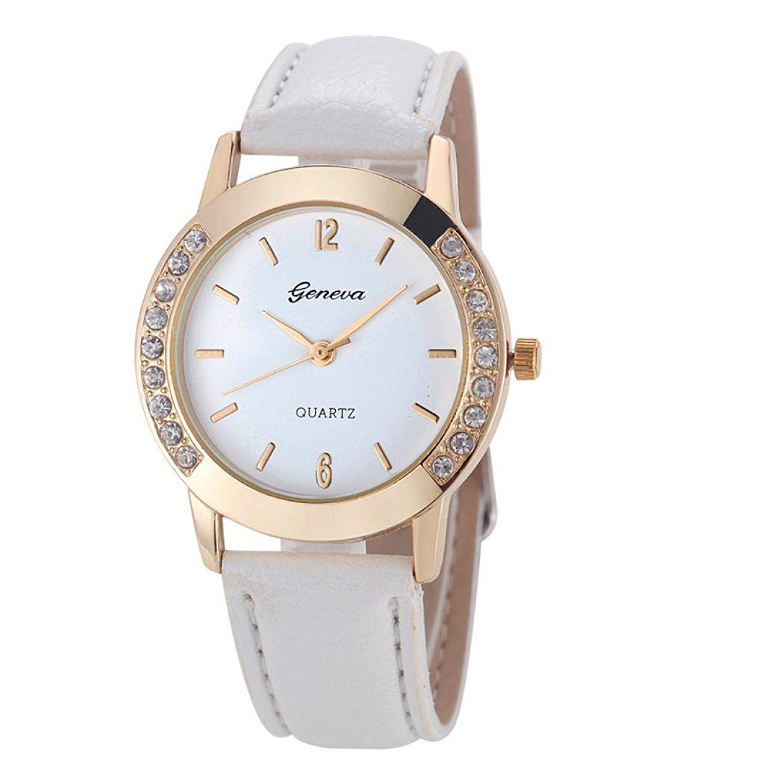 Hemlock Round Women s Crystal Diamond Watches White PU Leather Band Gold  Watches   Remarkable product available. Relojes MujerRelojes ... cba8715f4f68