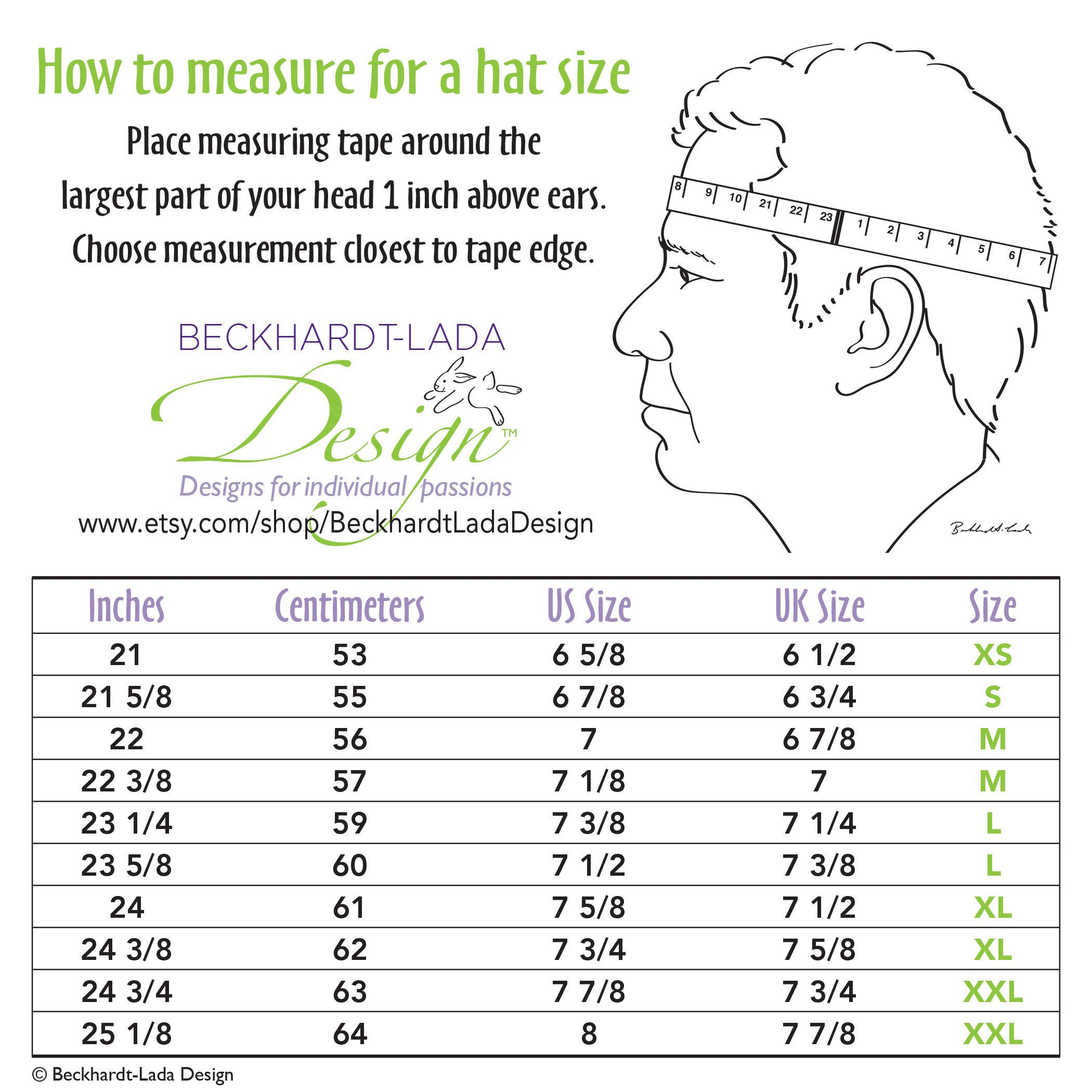 Here S A Helpful Head Measuring Chart To Figure Out Your Proper Hat Size Us Uk Whole Number Sizes Are Fine Hatchart Hats Hat Sizes Hanukkah Bush Teachers