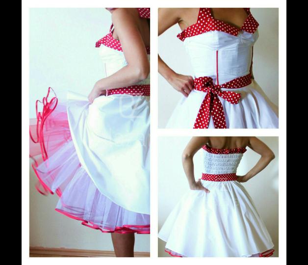 Weißes Petticoat Kleid mit rot kombiniert, im Stil der 50er Jahre ...