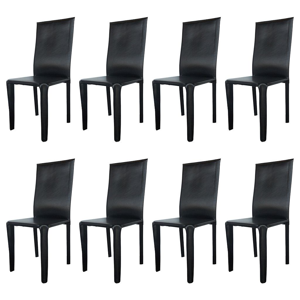 Twelve Italian Black Leather Dining Chairs By Arper From A Unique Collection Of Antique And