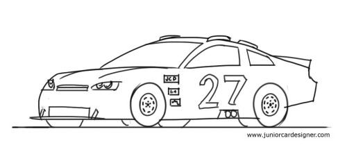 How To Draw A Nascar Race Car Step By Step Drawing For Kids