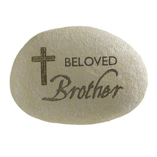 """Grasslands Road Always in Our Hearts """"Beloved Brother"""" Engraved Remembrance Stone with Elegant Cross by Grasslands Road. $8.99. Kraft paper box. Laser cut engraving allows fine detail in cross. Indoor/Outdoor use. Message reads: Beloved Brother. Cement resin mix. Grasslands Road Always in Our Hearts """"Beloved Brother"""" Engraved Remembrance Stone with Elegant Cross. Save 31% Off!"""