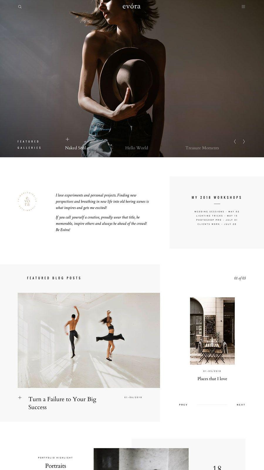 Evóra - a captivating website design for photographers, bloggers and ...