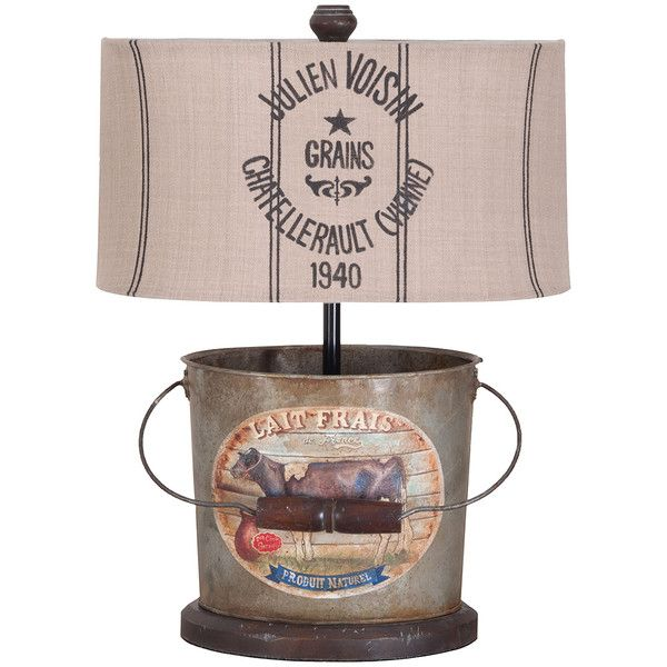 Vintage French Farmhouse Bucket Lamp (530 CAD) ❤ liked on Polyvore featuring home, lighting, colored lights, tin lamps, colored lamps and striped lamp