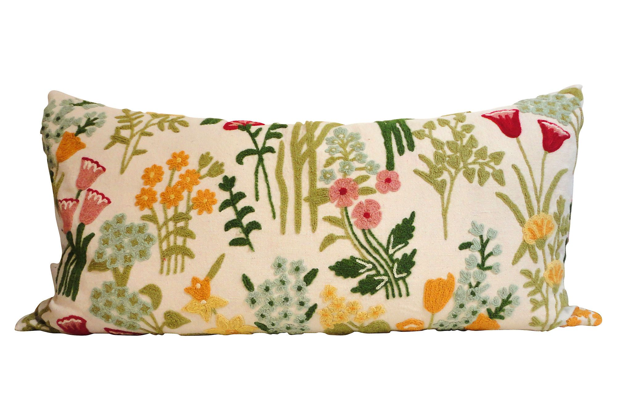 One Kings Lane - Blooming Options - Crewelwork Linen Bolster Pillow