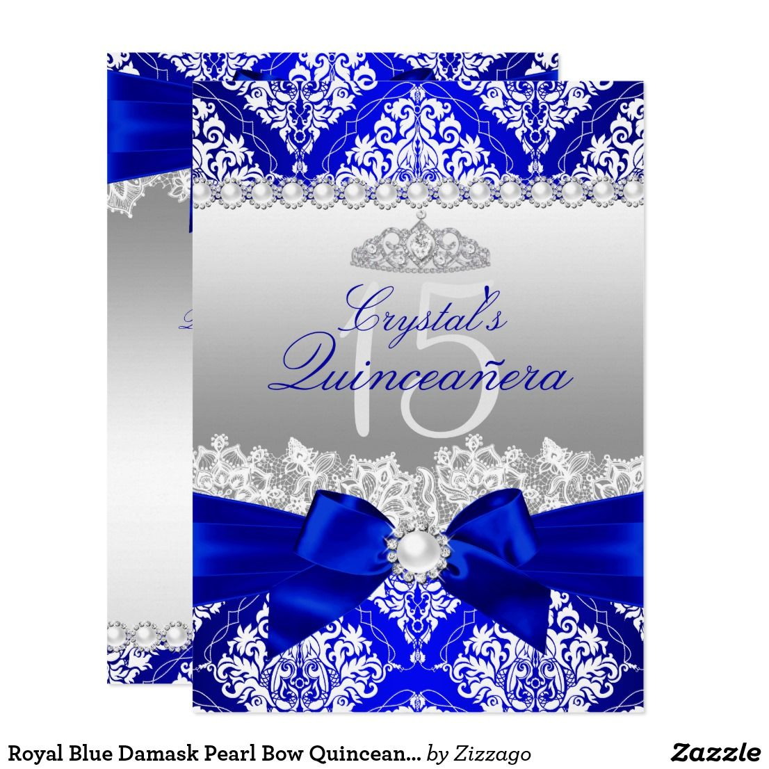 Royal Blue Damask Pearl Bow Quinceanera Invite | Quinceanera ideas ...