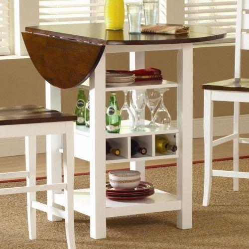 Ridgewood Counter Height Drop Leaf Dining Table With Storage Dining Table With Storage Kitchen Table With Storage Small Kitchen Tables