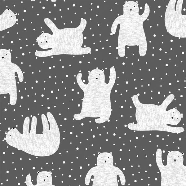 Polar Bears in Charcoal from Fair Isle fabric collection by ...