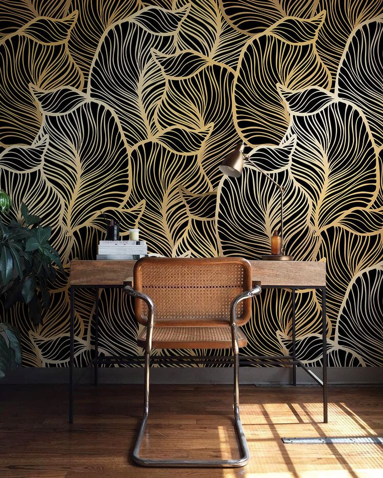 Solid gold leaf wallpaper exotic leaves wallpaper baroque style wall mural home décor easy install wall decal removable wallpaper b012