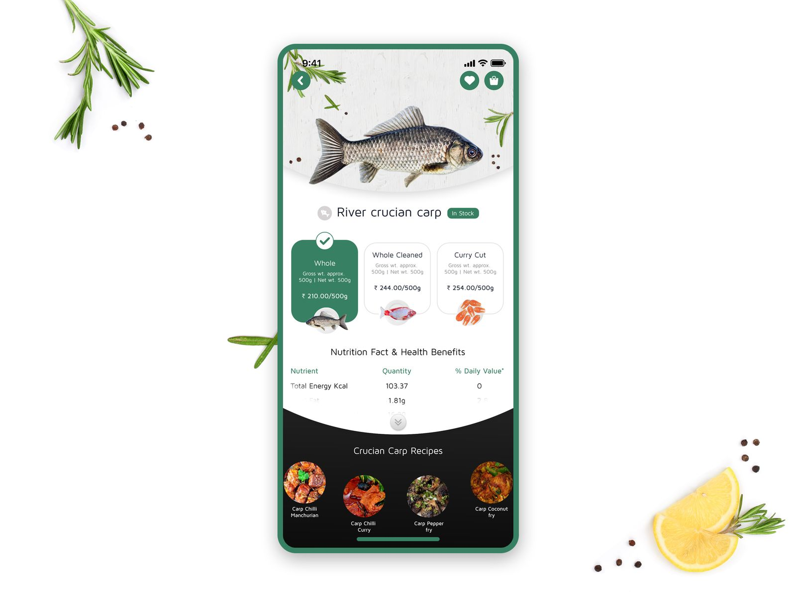 Online Fish Store App Interface Design Mobile App Inspiration Restaurant App